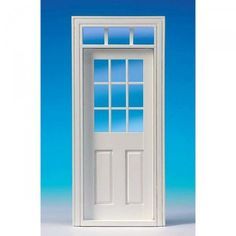 Interior door with glass pane, white (60181). Like #60180 but painted in white. Door made of natural wood.  Window with real glass pane and acrylic glass overhead light. Separate lattice strips and interior paneling. Dimensions:  87 x 198 mm, cut-out dimensions: 78 x 195 mm.