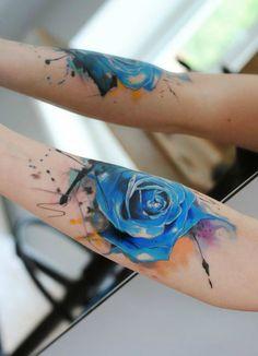 Aleksandra Katsan, watercolor tattoo rose tattoo