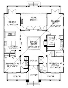 Southern Style House Plan Number 73602 with 3 Bed, 2 Bath First Floor Plan of Coastal Florida Southern House Plan 73602 Beach House Plans, Southern House Plans, Cottage House Plans, Country House Plans, Dream House Plans, Southern Homes, Small House Plans, Beach House Decor, Southern Style