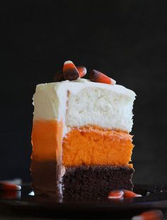 Layered Halloween Cake (choc layer, orange, and white layers, with frosting to match each layer)    image only.