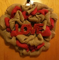Love Burlap Valentine's Day Wreath by TomasinosTreasures on Etsy #wreath #love #burlap #wreath #valentinesday #red #create #art #forsale #nj #newjersey #etsy #sale #shop #craft #decomesh
