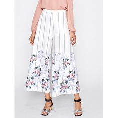 SheIn(sheinside) Striped And Flower Print Culotte Pants (59 RON) ❤ liked on Polyvore featuring pants, capris, white, white palazzo pants, palazzo pants, white crop pants, wide leg pants and white capri pants