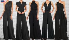 Womens CONVERTIBLE JUMPSUIT BLACK palazzo by PassionFruitApparel