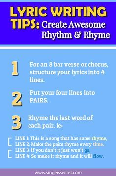 Lyric Writing Class - Create Awesome Rhythm & Rhyme - Singer's Secret - Nicola Milan Tips for writing lyrics Vocal Lessons, Singing Lessons, Singing Tips, Music Lessons, Guitar Lessons, Guitar Tips, Art Lessons, Writing Lyrics, Music Writing