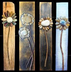 Creative DIY Home decor made with pebble art, more flower ideas on drift wood. - Home Decoration and Diy Discover thousands of images about Pallet Art masterpiece. It's a rock art DIY project that's easy to make Rock flowers - adorable on old barn wood; Yard Art, Caillou Roche, Rock Yard, Art Pierre, Diy And Crafts, Arts And Crafts, Summer Crafts, Crafts To Make And Sell, Beach Crafts