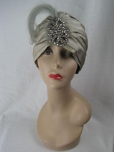 1930's Faille Turban with Rhinestone and Feather Accent