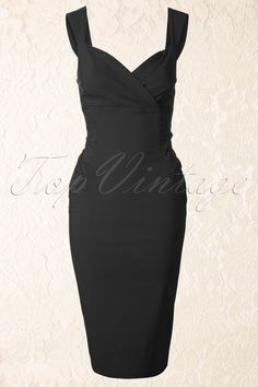 Collectif Clothing - 50s Audrey Pencil Dress Black