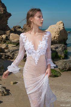 nurit hen 2016 long sleeves vneck beaded sheath wedding dress (sw12) mv