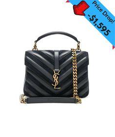 877decfbdc67 today - - Yves Saint Laurent Medium Black College Patchwork Suede Leather Shoulder  Bag New