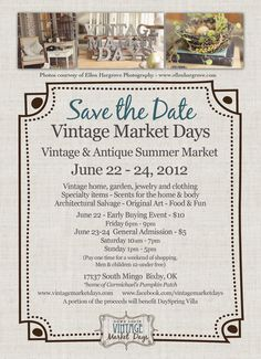Vintage Market Days is an upscale vintage-inspired indoor/outdoor market featuring original art, antiques, clothing, jewelry, handmade treasures, home décor, outdoor furnishings, consumable yummies, seasonal plantings and a little more.