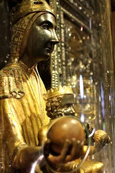 "black madonna montserrat - I was blessed to visit this shrine on the feast day of the ""Virgin of Montserrat""  She reminds me of Isis and Horus too.  Lit many candles. :>)"
