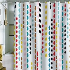 Great for a kids bathroom -Colorful Drops Shower Curtain....I want this!