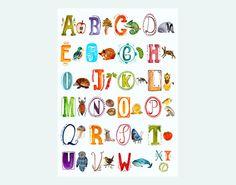 Weiteres - ABC Poster *Tiere* - ein Designerstück von Frau-Ottilie bei DaWanda