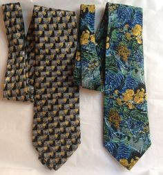 Brioni Men's Neck Tie Lot Of 2 100% Silk Blue Abstract Floral Gray Geometric #Brioni #Tie