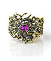 """Pretty as a Peacock"" Crystal Bangle Bracelet"