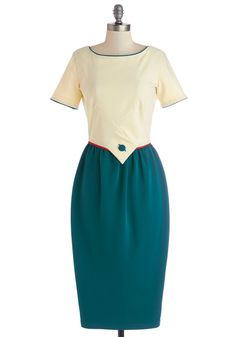 Maritime to Go Dress. Tonights your night out on the town with your sweetie, so you slip on this colorblocked dress by Bettie Page!  #modcloth