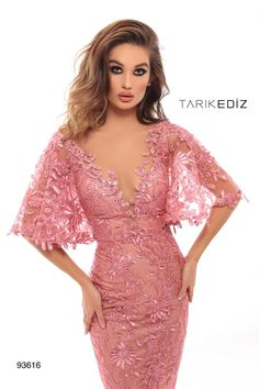 Tarik Ediz 93616 The name of this style is: Family. The fabric in this Tarik Ediz Coutre style is Lace Evening Dresses With Sleeves, Lace Dress With Sleeves, Stunning Dresses, Elegant Dresses, Kurta Designs, Fashion Dresses, Style, Natural Curves, Lace Overlay