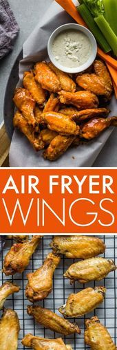 Air Fryer Chicken Wings cook up amazingly crispy and juicy without deep frying. Then theyre tossed with a spicy buffalo wing sauce that can be made mild to hot depending on your taste preference. - Deep Fryer - Ideas of Deep Fryer Air Fryer Recipes Appetizers, Air Fryer Recipes Snacks, Air Fryer Recipes Vegetarian, Air Fryer Recipes Low Carb, Air Fryer Recipes Breakfast, Air Fry Recipes, Healthy Recipes, Meat Appetizers, Easy Recipes