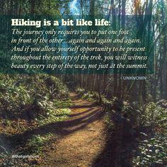 Hiking is a bit like life, enjoy the beauty along the way.