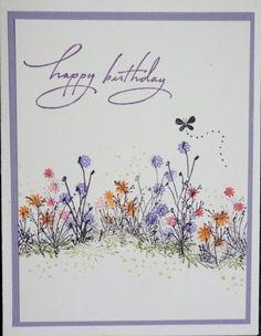 Garden Birthday Card (Stamps by Judith) Hand Made Greeting Cards, Making Greeting Cards, Greeting Cards Handmade, Birthday Cards For Women, Handmade Birthday Cards, Happy Birthday Cards, Women Birthday, Watercolor Birthday Cards, Watercolor Cards