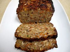 Vegetarian Nut Loaf w/ Sherry Mushroom Gravy Veggie Loaf, Nut Loaf, Veggie Dishes, Veggie Recipes, Vegetarian Recipes, Vegan Meals, Healthy Recipes, Vegetarian Nut Roast, Healthy Cooking