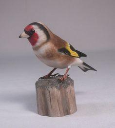 European Goldfinch Hand Carved Wooden Bird