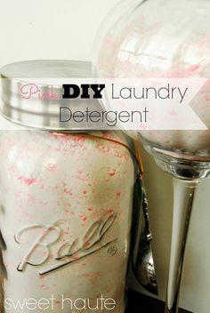 Gift idea for neighbors. Pink DIY Laundry Detergent- Tutorial gain apple mango tango scented HE High Efficiency safe soap by SWEET HAUTE! Save money and make your own laundry soap 200+ loads of great smelling laundry. Pin now......read later!