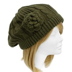 SOFT Cable Knit Beret with Crocheted Flower  Olive Green #Beret http://stores.ebay.com/beachcats-bargains