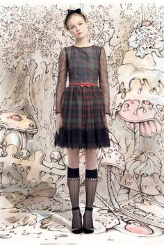 Love this retro look—reminds me of the kind of dresses I had as a young girl❣ Red Valentino   Fall 2013 Ready-to-Wear Collection   Style.com