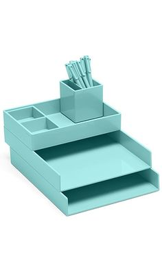 Super Stacked Desk Set, Aqua (Letter Trays, Accessory Tray, This + That Tray, Pen Cup, Signature Ballpoint Pens) Best Price