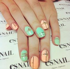 Esnail LA. Teal nails. Peach nails. Nail art. Summer colors