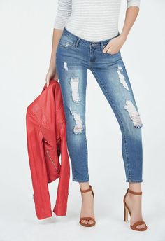 505eb7a9c72 Skinny Ankle Grazer Clothing in Blue Typhoon - Get great deals at JustFab  Jeans Skinny