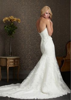 Magnificent Sweetheart Natural Full Length Mermaid Trumpet Court Wedding Dresses 2015
