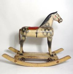 """Rocking Horse : an unusual child's combined Pull Along Wheeled Dapple Grey painted horse toy removably attached to a pair of bow shaped rockers. 30"""" long and 25"""" high"""