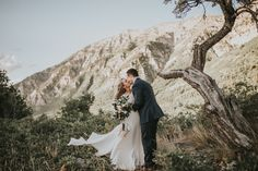 These pre-wedding first look photos feature a stunning bridal style, an epic Utah mountain backdrop, and tons of romance!