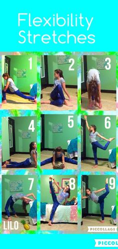 flexibility stretches: here are some stretches to help improve your flexibility! don't push yourself so hard that it hurts, but always try your best! 1: lunge or hip flexor 2: twisted body stretch 3: fold over 4: seal or swan stretch 5: strattle stretch while reading! 6: standing thigh release 7: back bend or bridge 8: leg extension 9: half scorpion! enjoy these & be careful! TOODLES! •LILO