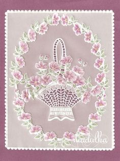 Parchment Craft (pattern by Julie Roces) Vellum Crafts, Parchment Design, Parchment Cards, Butterfly Template, Card Patterns, Paper Cards, Flower Cards, Flower Making, Machine Embroidery Designs