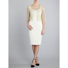 Buy Gina Bacconi Moss Crepe Dress With Embroidered Jacket, Buttercream Online at johnlewis.com