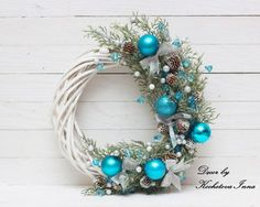 Christmas Wreath ~ Love this Blue! Turquoise Christmas, Blue Christmas Decor, Christmas Crafts To Sell, Christmas Wreaths To Make, Holiday Wreaths, Christmas Art, Handmade Christmas, Holiday Crafts, Christmas Ornaments