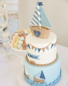 ⚓⛵ Photo by Sugarbaby Photography À propos de Purple Elephant Cakes Nautical Birthday Cakes, Whale Birthday, Baby Boy 1st Birthday Party, Nautical Cake, Birthday Cakes For Teens, First Birthday Cakes, Cakes For Boys, Sailboat Cake, Elephant Birthday