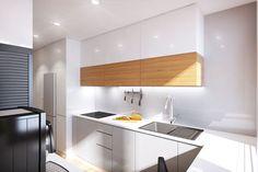 Muebles blancos de cocina combinado con madera