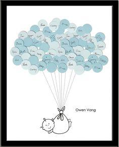 Bébé unique douche Guest Book Print garçon par SayAnythingDesign