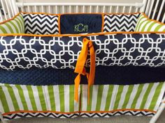 Navy Chevron Lime and  Orange Baby bedding Crib set by abusymother, $50.00