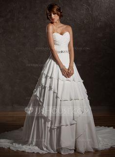 Ball-Gown Sweetheart Court Train Chiffon Wedding Dress With Ruffle Beading Sequins (002011504) - JJsHouse