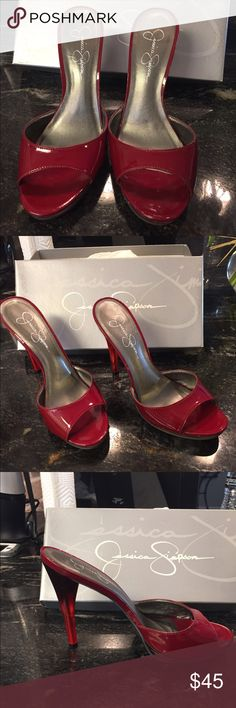 Jessica Simpson high heel sandals size 7 1/2 Red patent Jessica Simpson high heel sandals. Like new. Only been worn once. Size 7 1/2. Comes in original box. Jessica Simpson Shoes Sandals