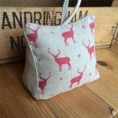 DOORSTOP Peony & Sage RED STAGS fabric