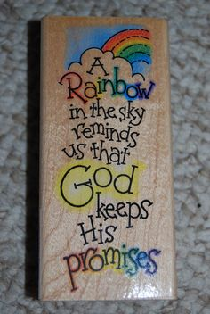 Rainbow Promises  NEW Rubber Stamp by by TeaTymeTreasures on Etsy, $9.99