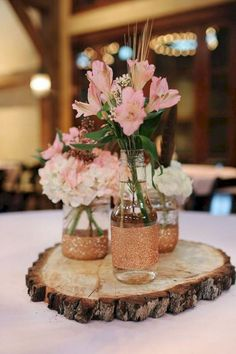 Rustic Wedding Centerpieces Unique to dazzling tips, rustic centerpieces post reference 8727376928 - Notable tips to form and design a crowd pleasing and charming setting. Delightful cheap rustic wedding centerpieces pinned on this date 20190107 , Tree Stump Centerpiece, Rose Gold Centerpiece, Mason Jar Centerpieces, Rustic Wedding Centerpieces, Centerpiece Ideas, Glitter Centerpieces, Wooden Centerpieces, Glitter Vases, Gold Mason Jars