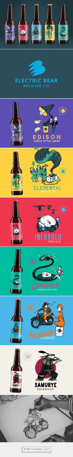 Electric Bear Brewing Co Craft Beer label design by Kingdom & Sparrow (UK) - http://www.packagingoftheworld.com/2016/08/electric-bear-brewing-co-craft-beer.html