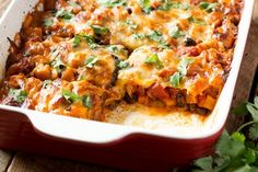 This easy vegetarian casserole uses both smoked mozzarella and smoky paprika to liven up sweet potatoes and black beans, and it's hearty enough to serve as a main or side dish.